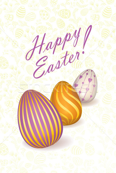 Happy Easter floral greeting card. Easter holiday egg background Stock photo © Terriana