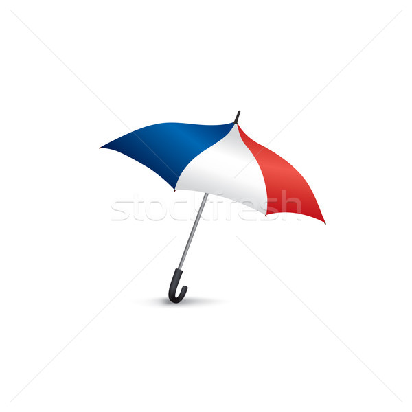 French flag colored umbrella. Travel France sign. French fashion Stock photo © Terriana