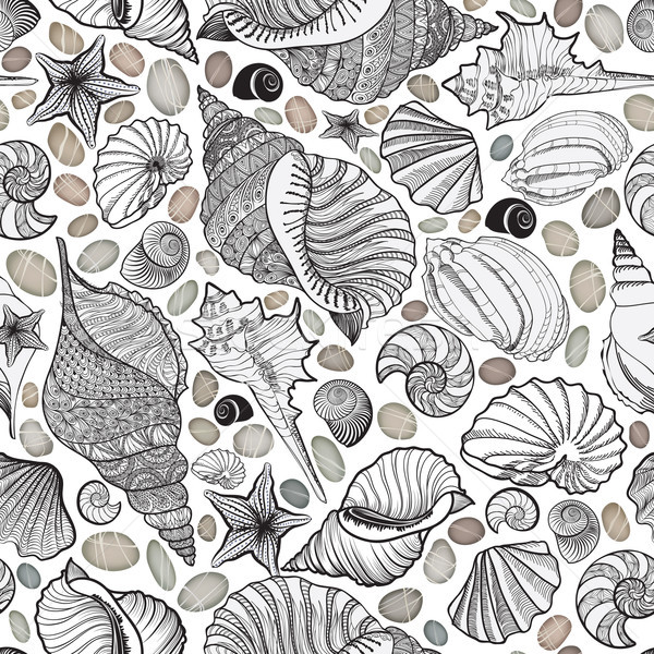 Seashell seamless pattern. Summer holiday marine background Stock photo © Terriana