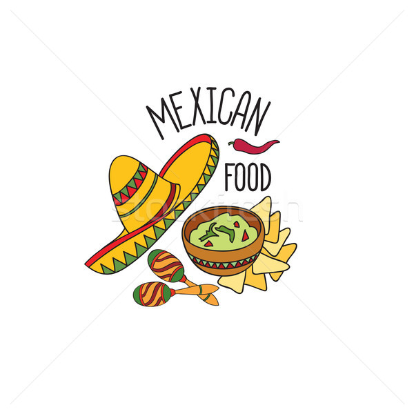 Mexican food symbol set. Fastfood sign. Guacamole, hat, musical icon. Stock photo © Terriana