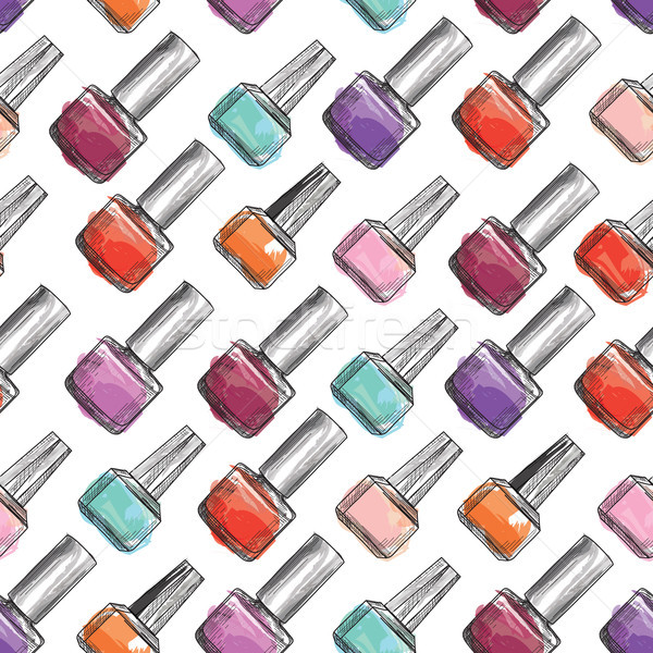 Nail polish bottle seamless pattern. Beauty salon manicure backg Stock photo © Terriana