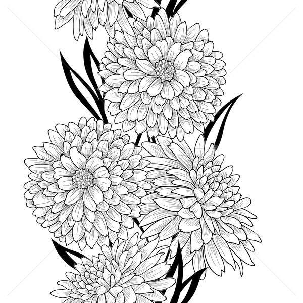 Virágmintás csempe minta virág krizantém vonal Stock fotó © Terriana