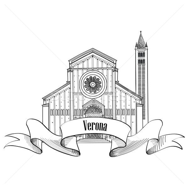 Stock photo: Verona city label. travel Italy icon. Famous building sign