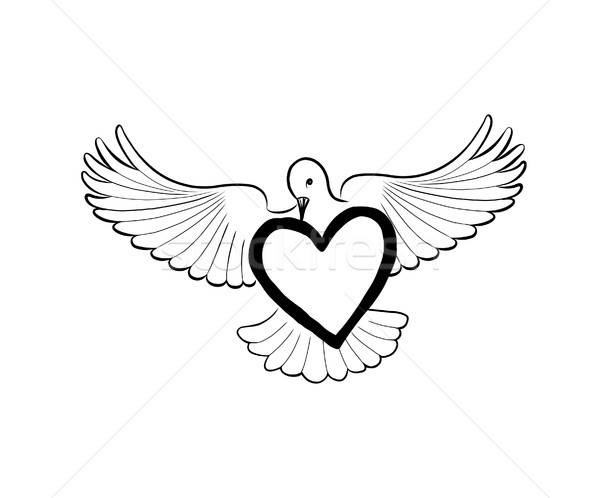Love heart brought by flying bird dove. Valentine day greeting c Stock photo © Terriana