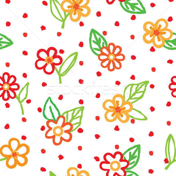 Floral seamless pattern with flowers and leaves. Ornamental backgound Stock photo © Terriana