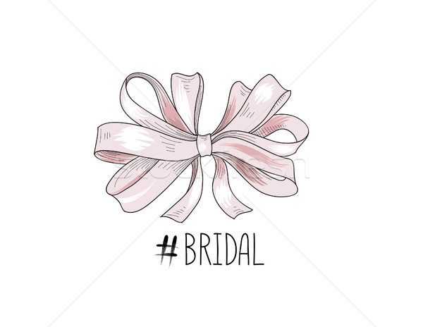 Stock photo: Bow wed sign. Gentle cream bow isolated. Bride team icon