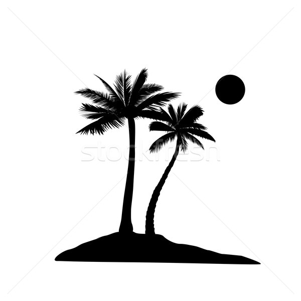 Palm tree silhouette. Summer holiday nature background. Beach re Stock photo © Terriana
