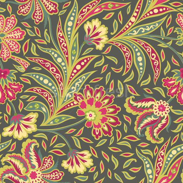 Floral seamless pattern. Flourish oriental ethnic background. with flowers Stock photo © Terriana