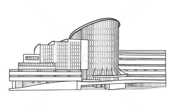 Város épület rajz izolált városi ház Stock fotó © Terriana