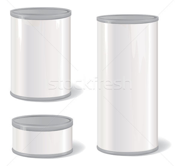 Metal Tin Can set. Retro Canned Food Package. Product Packing. Stock photo © Terriana