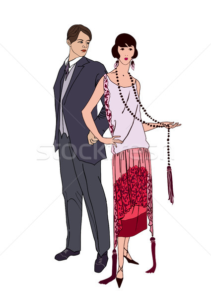 Couple on party. Man, woman in cocktail dress in vintage style Stock photo © Terriana
