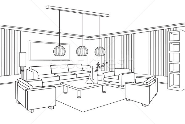 Living Room View Interior Outline Sketch Furniture Blueprint