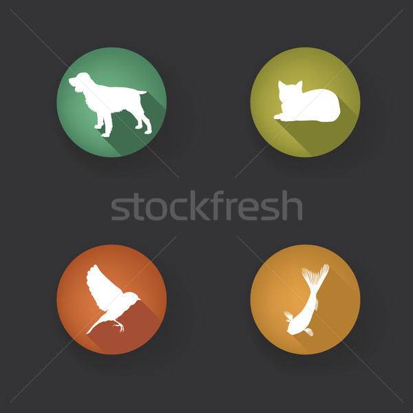 Pet Icons Set. Vet Symbols. Collection of vector pets icon silho Stock photo © Terriana
