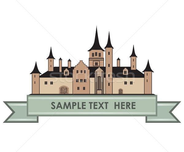 Castle Building Sign. Travel Landmark Label. Fairy tale cartoon Stock photo © Terriana