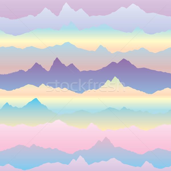 Absztrakt hullámos hegy sziluett végtelen minta kardio Stock fotó © Terriana