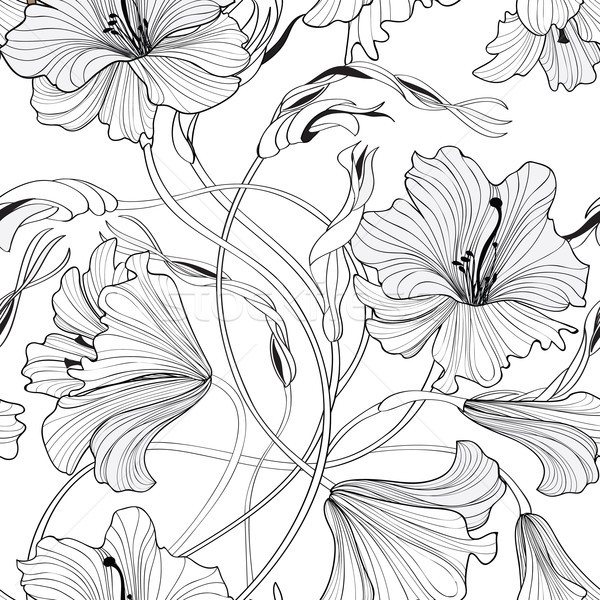 Stock photo: Floral seamless pattern. Flower lily bouquet background. Spring
