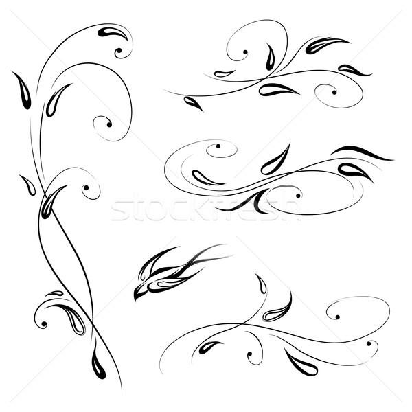 цветочный птица Swirl линия Сток-фото © Terriana