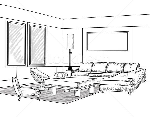 Interior boceto salón muebles plan Foto stock © Terriana