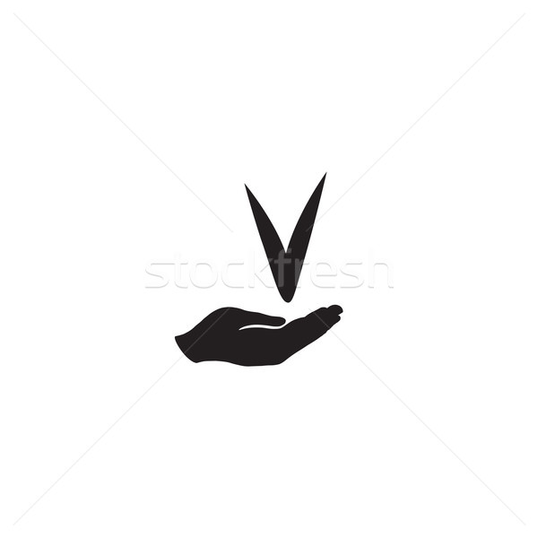Checkmark sign in hand silhouette. Check mark approved icon Stock photo © Terriana