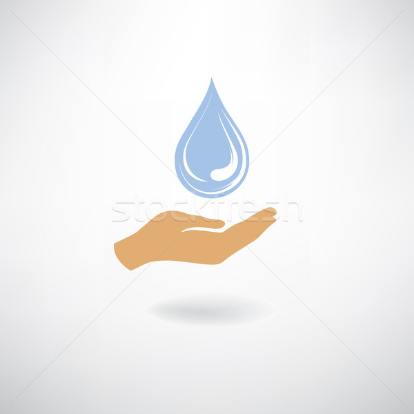 Drop icon in hand silhouette, white background. Save water sign Stock photo © Terriana