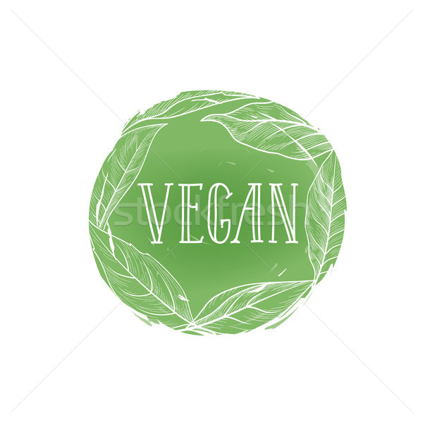 Vegetarian natural food sign. Vegan lettering, floral label Stock photo © Terriana