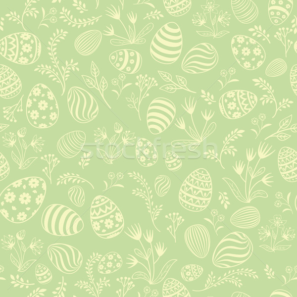 Easter egg seamless pattern. Floral holiday background. Stock photo © Terriana