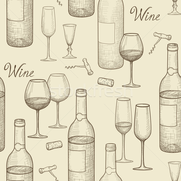 Drink wine seamless doodle pattern. Wine card bar background Stock photo © Terriana