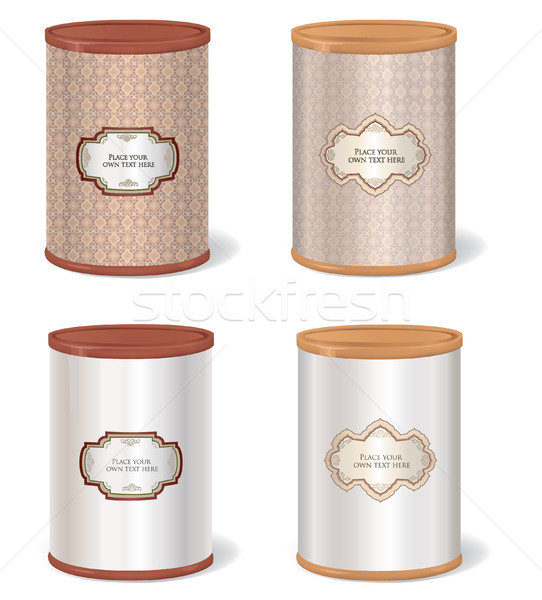 Stock photo: Vintage Patterned Box Set. Metal Tin Can. Retro Canned Food package.