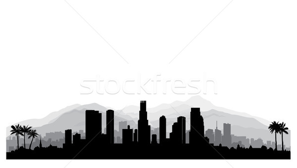 Los Angeles USA skyline. City silhouette, skyscraper buildings Stock photo © Terriana