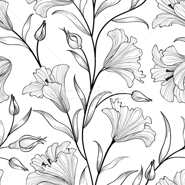 Floral seamless pattern.Flower bouquet white engraved background Stock photo © Terriana