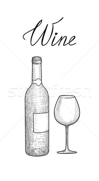 weinglas rotwein flasche gravur illustration weinglas vektor grafiken terriana. Black Bedroom Furniture Sets. Home Design Ideas