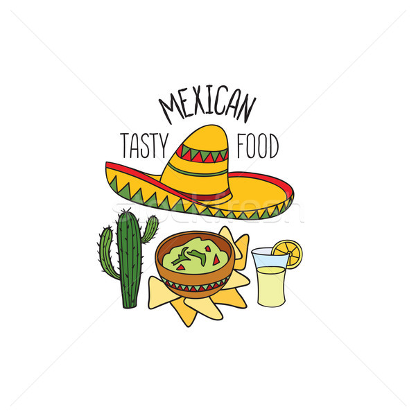 Mexikói étel szimbólum szett felirat tequila kalap Stock fotó © Terriana