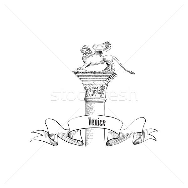 Venice city sign.Winged Lion symbol Travel Italy Stock photo © Terriana