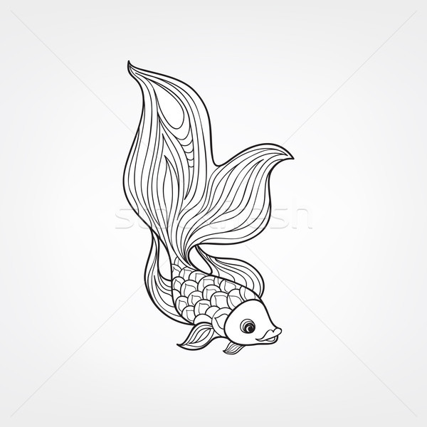Fish isolated. Hand drawn doodle line decorative marine life bac Stock photo © Terriana
