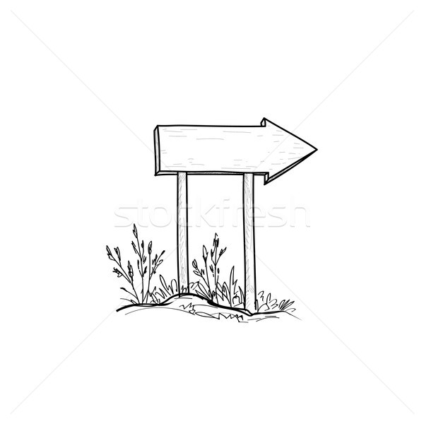 Wooden road arrow sign. Hand drawn plank signboard. Outdoor signpost Stock photo © Terriana