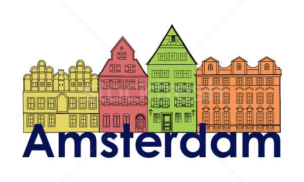 Stockfoto: Amsterdam · kanaal · huizen · Nederland · symbool · reizen
