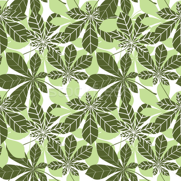 Leaves seamless pattern. Floral chestnut leaf wallpaper in retro japanese style. Stock photo © Terriana