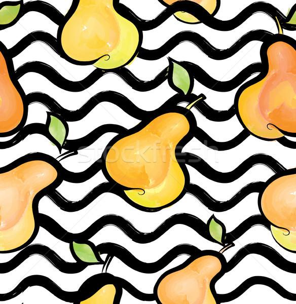 Hullám végtelen minta körte gyümölcs absztrakt elegáns Stock fotó © Terriana