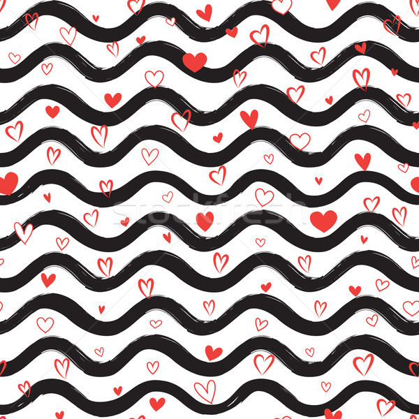 Love heart seamless pattern. Abstract stylish hand drawn background. Holiday ornamental wallpaper. Stock photo © Terriana