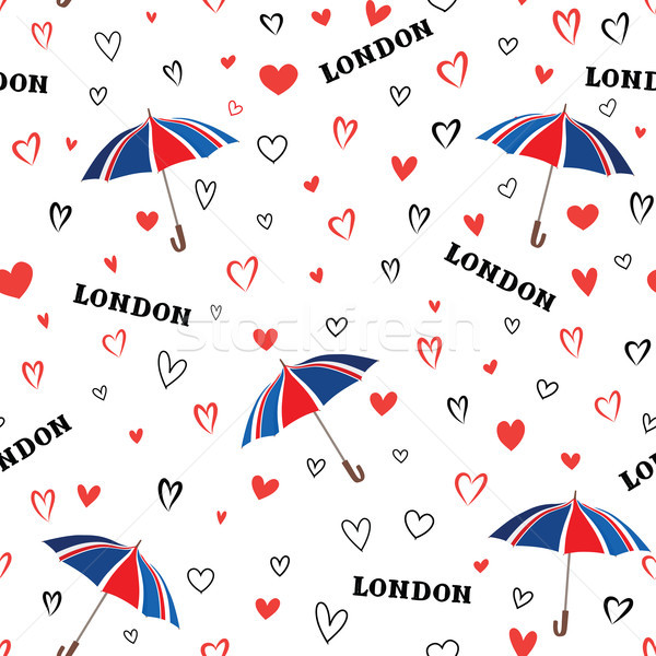 Travel London seamless pattern with love hearts and umbrella. Br Stock photo © Terriana