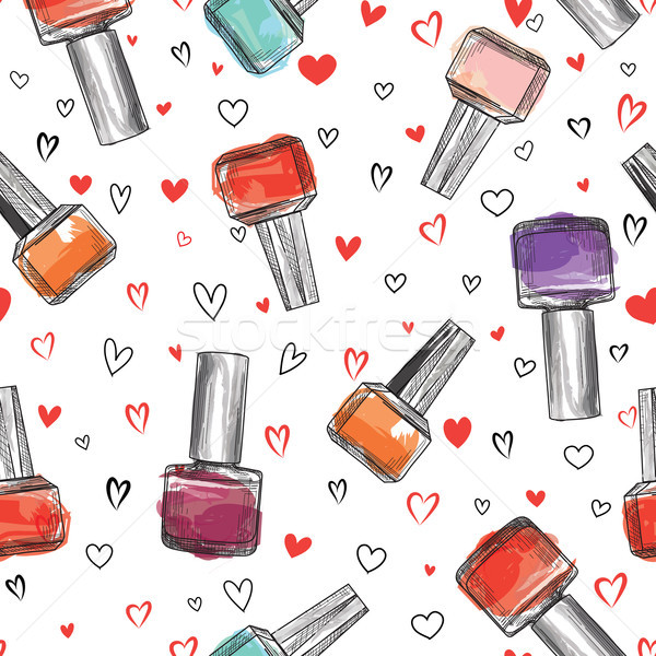 Nail polish bottle seamless pattern. Beauty salon background. Lo Stock photo © Terriana