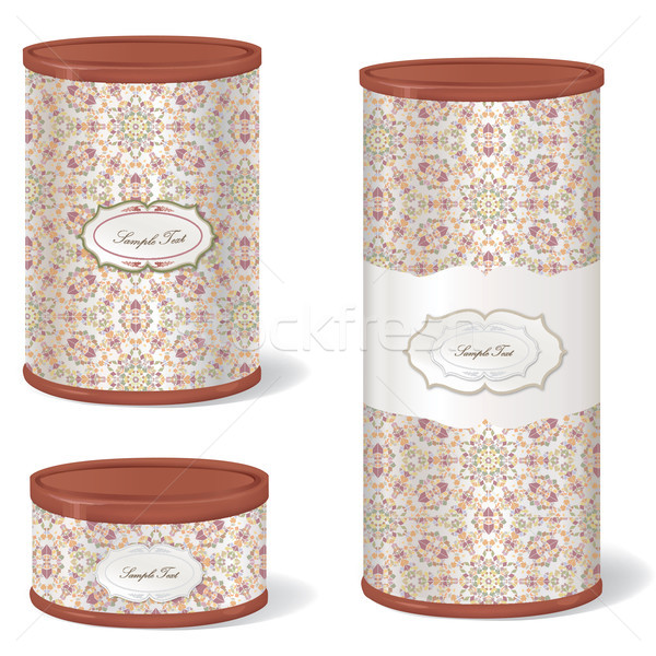Vintage Patterned Box Set. Metal Tin Can. Retro Canned Food package. Stock photo © Terriana