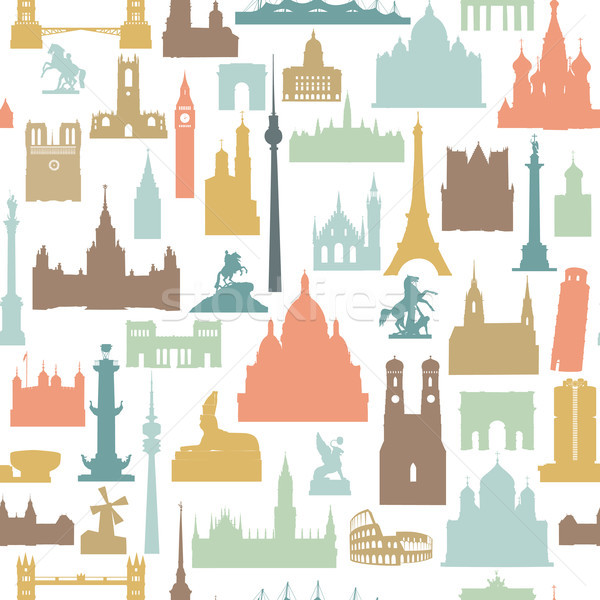 Travel world landmarks tile pattern. Travel sight icon set Stock photo © Terriana