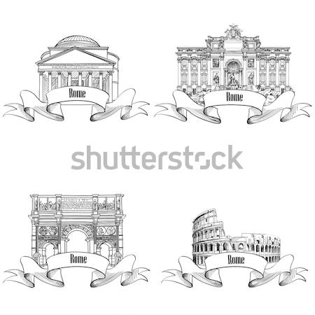 Stock photo: Rome citiy symbol Fountain di Trevi. Italian landmark label over