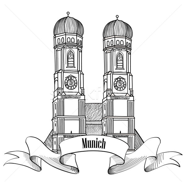 Munich city cathedral label. Travel Germany. Landmark sign Stock photo © Terriana