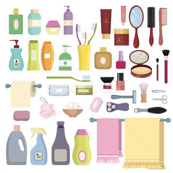 Beauty care related object set. Hygiene symbols. Bath supplies. Stock photo © Terriana