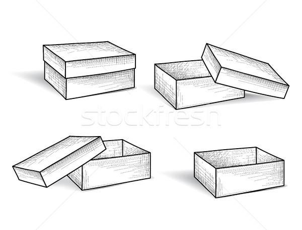 Cuadro establecer paquete grabado garabato línea Foto stock © Terriana