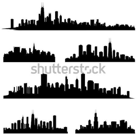 Stadt Silhouette Set Panorama Skyline städtischen Stock foto © Terriana