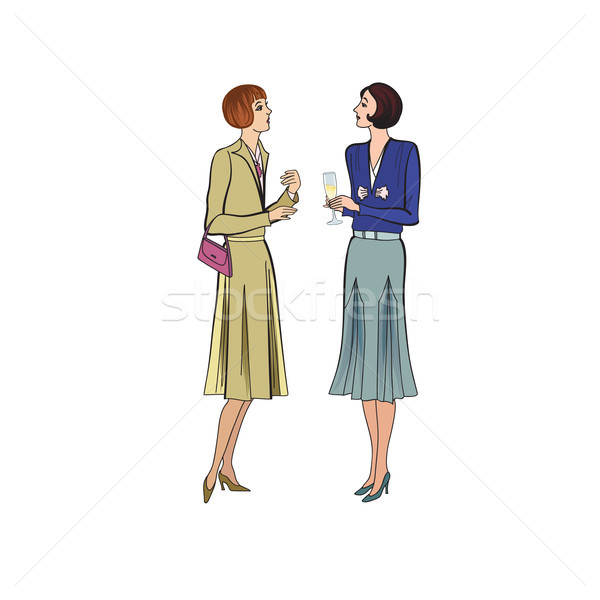 Two women conversation on party. Retro dress in vintage style 19 Stock photo © Terriana