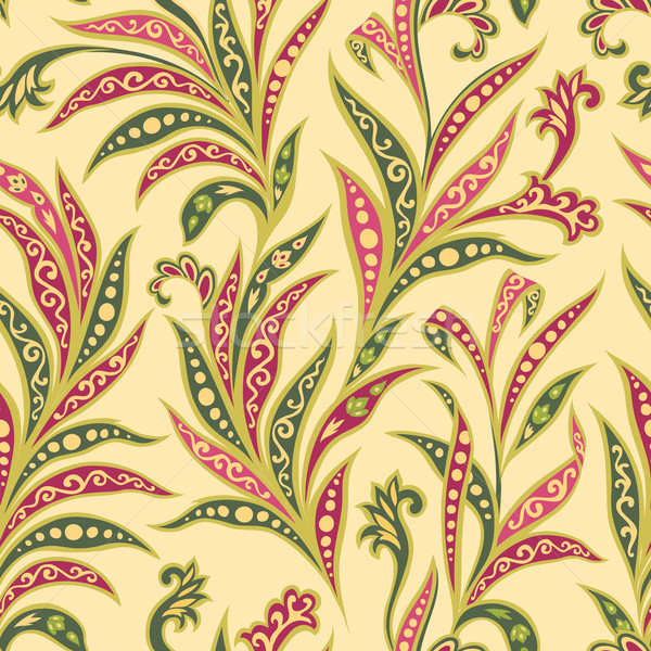 Floral leaf seamless pattern. Branch with leaves ornament. Arabi Stock photo © Terriana